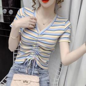 彩虹条纹短袖T恤女v领修身抽绳设计感小众百搭上衣