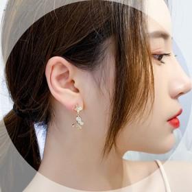 限时特价s925银针双蝴蝶耳环