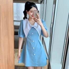 泡泡袖娃娃领蓝色连衣裙2021夏季新款女神范气质法