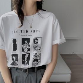短袖T恤女新款夏季复古港风印花半袖宽松气质休闲潮流