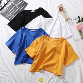 露脐新款甜美短款恤女夏季短袖韩版纯色学生高腰漏肚脐