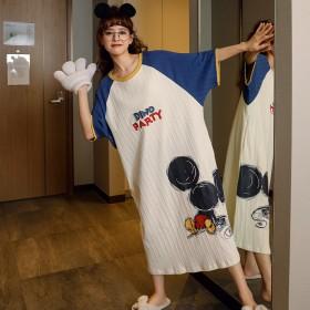 睡衣女夏季短袖睡裙韩版连衣裙卡通大码长裙棉质家居服