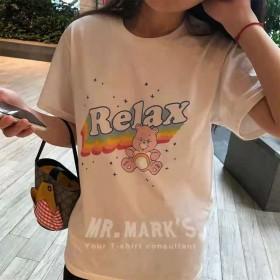 彩虹动物图案T恤2021宽松白色显瘦上衣短袖