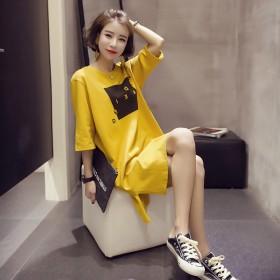 2021新款夏季韩版宽松中长款短袖开叉连衣裙女半袖