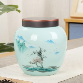 陶瓷茶叶罐家用防潮储茶罐红茶绿茶通用密封罐