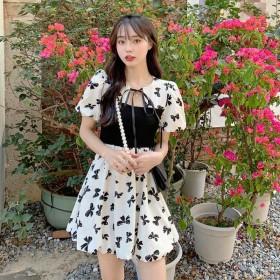 法式初恋长系泡泡袖甜美连衣裙子女神范衣服夏天
