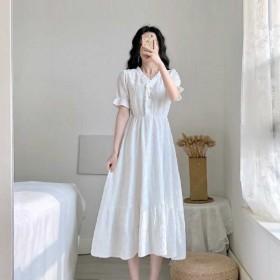 茶歇桔梗法式复古连衣裙女2021夏季新款设计感气质