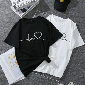 女装t恤女短袖2021夏季新款韩版爱心电图上衣打底