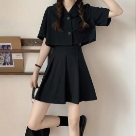 夏季韩版气质套装短款上衣宽松小西装套装高腰百褶裙学