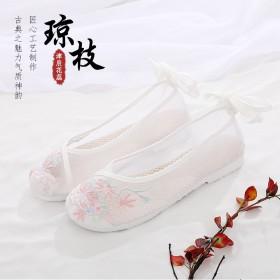 津辰花蕊夏季古风鞋女汉服网纱鞋新款老北京绣花鞋平底