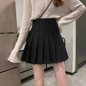 百褶裙半身裙女夏韩版灰色白色高腰西装2021新款短