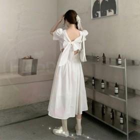 2021夏季新款法式性感露背泡泡袖气质温柔风连衣裙