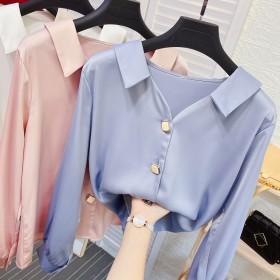 翻V领宽松长袖真丝衬衫秋季珍珠扣气质OL垂感缎面