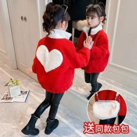 女童羊羔毛外套2021新款秋冬儿童中大童洋气加绒毛