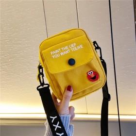 新品韩版斜挎迷你包包女网红同款学生小清新黄色帆布