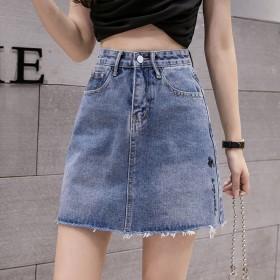 牛仔短裙女夏薄款高腰a字包臀短款小个子新款显瘦百搭
