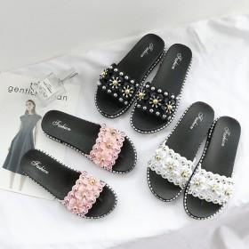 拖鞋女夏外穿2021夏季花朵女鞋半拖平底一字凉拖鞋