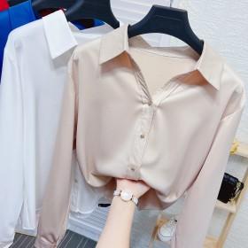 V领丝绸缎面长袖衬衫女秋季设计感面试职业