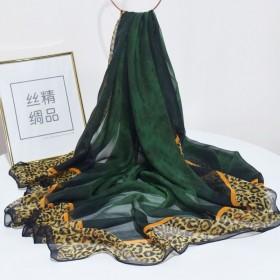 豹纹真丝乔其纱140超大方巾女桑蚕丝丝巾