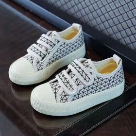 儿童低帮帆布鞋2021春秋新款魔术贴