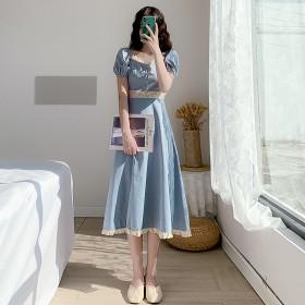 2021年夏季雪纺小众薄款连衣裙天蓝色透气复古长裙
