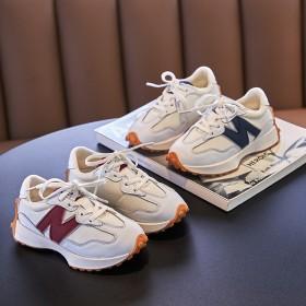 男童运动鞋秋款透气系带春秋女童休闲鞋真皮秋季白色小