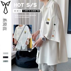 排扣衬衫男夏季薄款潮流上衣设计感小众短袖衬衣港风