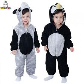 儿童春款双层连体衣宝宝加大动物造型哈衣爬服