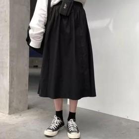韩版宽松伞裙中长款半身裙纯色工装裙女a字裙显瘦大码
