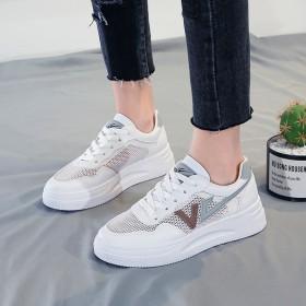 小白鞋女2021夏季新款拼接百搭平底网鞋女透气系带