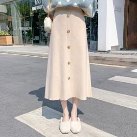 针织半身裙女秋冬季新款高腰a字加厚毛线长裙子中长款