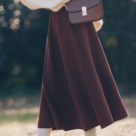 针织半身裙女中长款高腰a字裙显瘦小个子长裙