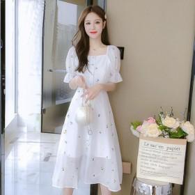 雪纺连衣裙子仙女超仙森系女装夏装2021年新款碎花