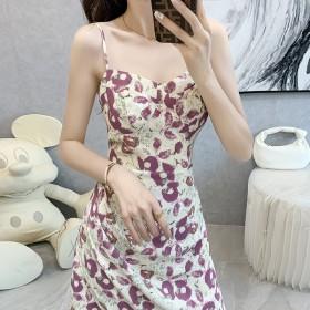 小清新连衣裙甜美薄款2021夏新款荷叶边印花高腰
