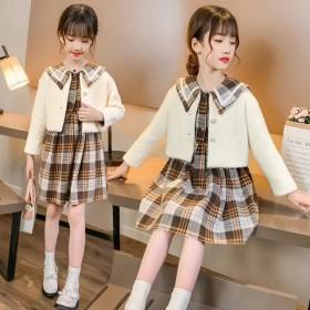 女童秋季套装2021洋气时髦水貂绒外套格子裙两件套