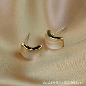 青岛饰品925银针猫眼石耳环日韩气质方形防过敏