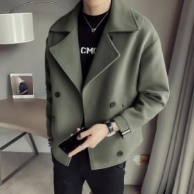 男士风衣秋冬季毛呢子短款加厚夹克英伦风韩版外套