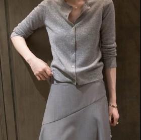 冰丝针织衫女装开衫秋季2021年新款外搭薄款防晒空