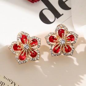 网红爆款奢华水晶耳钉女925银针防过敏气质甜美耳环