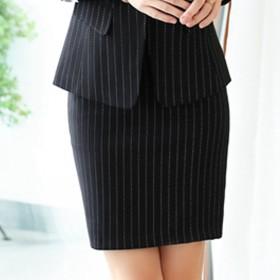 黑色条纹西装裙职业装裙子