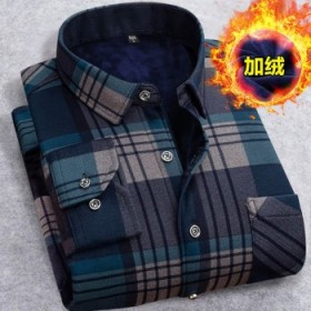 秋冬加绒衬衣男宽松保暖衬衫内衣加厚休闲外套爸爸装