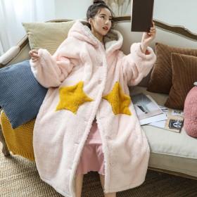 睡衣女秋冬季珊瑚绒星星长款可外穿法兰绒大码睡袍女冬