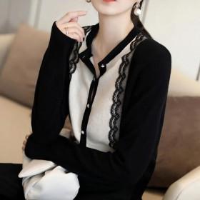 夏季新款时尚气质撞色蕾丝边毛衣珍珠扣长袖上衣针织开