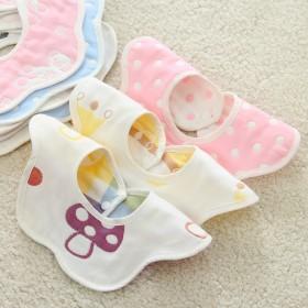 5条口水巾全棉母婴儿童围兜新生儿纯棉六层纱布围嘴