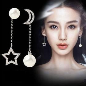限时特价s925银针长款星月耳环