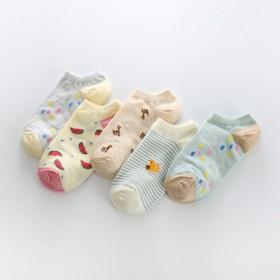 5双装女士纯棉短袜日式可爱春秋款