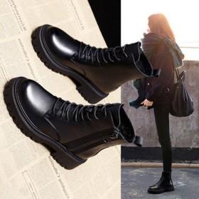 马丁靴女秋冬季新款百搭英伦风单靴厚底加绒短靴