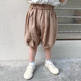 儿童短裤男童棉麻五分裤夏韩版灯笼裤薄款条纹裤束脚裤