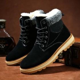 加绒加厚雪地靴男冬高帮保暖棉鞋保暖棉靴男士短靴