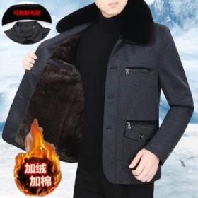 中老年加绒男装外套秋冬爸爸装夹克衫上衣服爷爷装